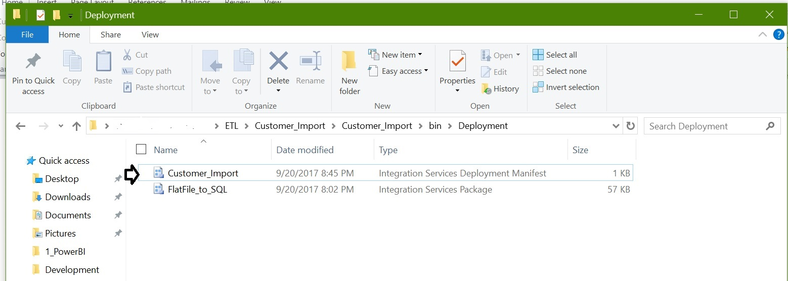 SSIS package using Deployment Manifest with screenshots
