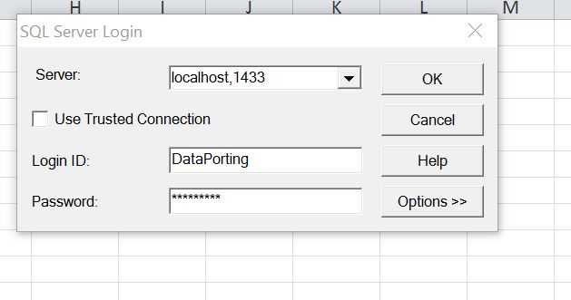How to connect SQL Server from Excel