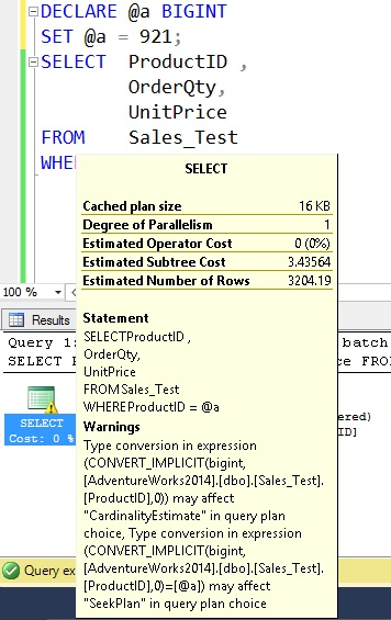 declare value in sql