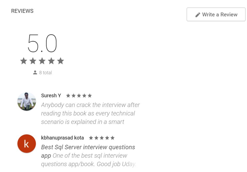 sql the review google play store